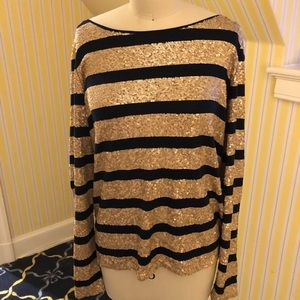 Calypso Gold and Black Sequin Long Sleeve